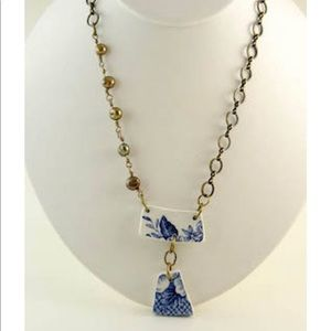 Jewelry - OOAK Blue White Symmetric Necklace with Pearls